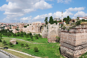 Fortress walls of Constantinople view from Topkapi