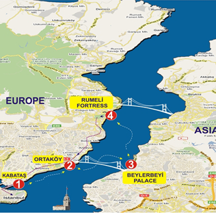 Bosphorus tour map yacht